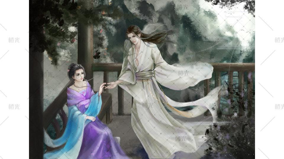 七夕古风人物手绘