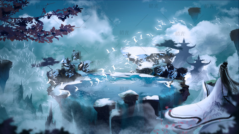 仙境古风手绘图片