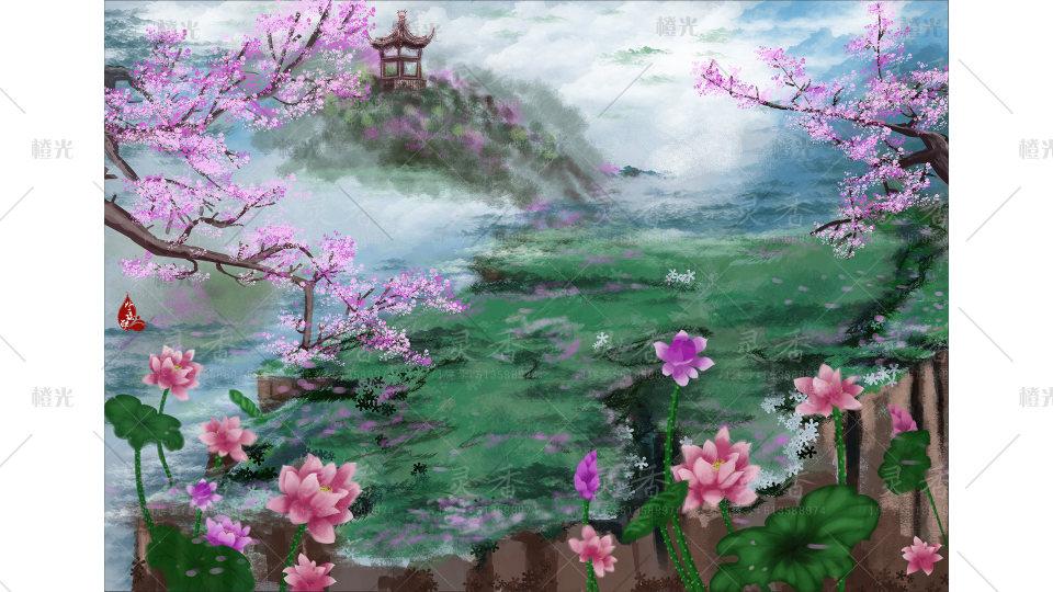 古风亭子手绘背景图