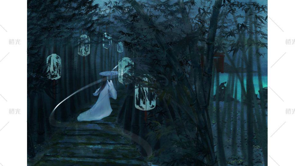 竹林有白天和夜晚两个时间段:白天带一个下雨的场景图片