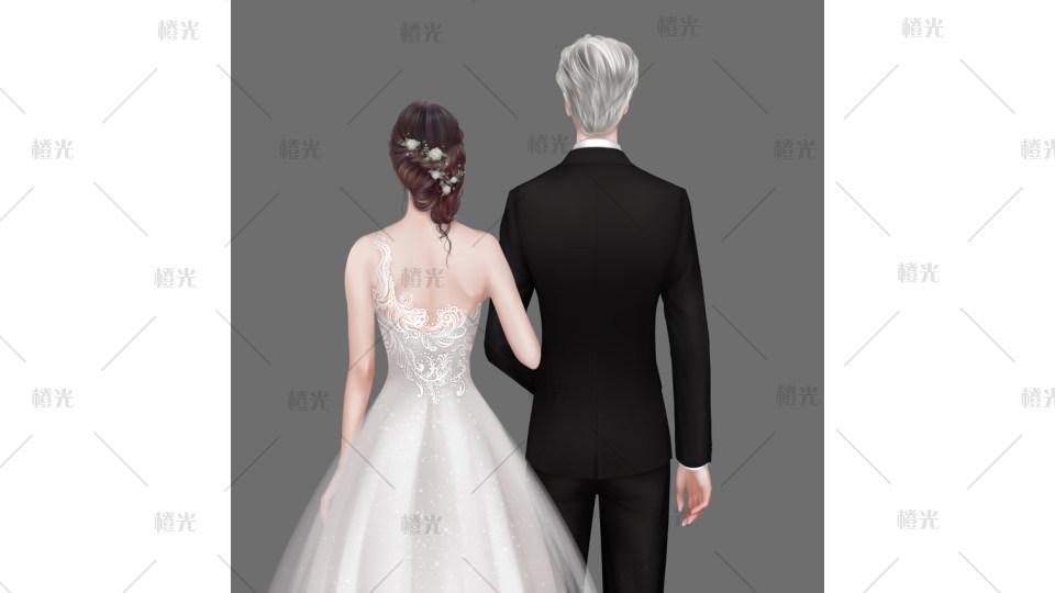 婚纱背影简笔画_背影-婚纱